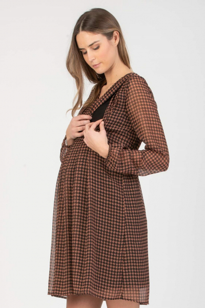 Maternity & Nursing Dress in Chiffon with Houndstooth Print