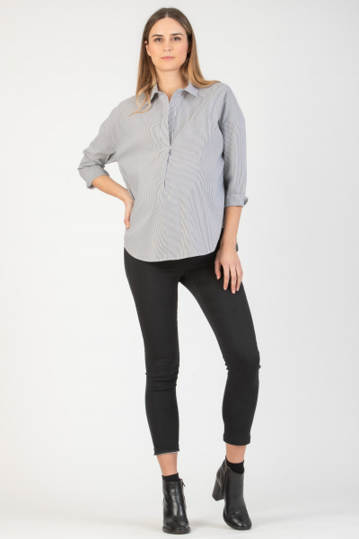 Striped Overhead Oversized Maternity Shirt in Stretch Cotton Poplin