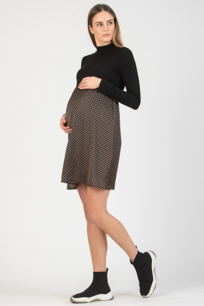 Polka Dot Maternity Dress in Two Fabrics with High Neck