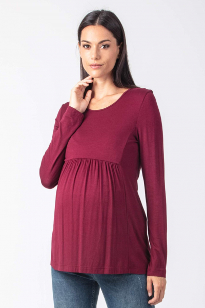 Long Sleeve Maternity Top with Front Gathering