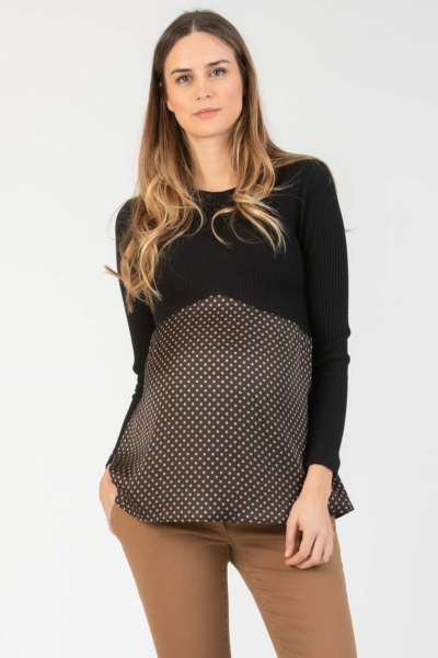 Polka Dot Long Sleeve Maternity Top in Two Fabrics