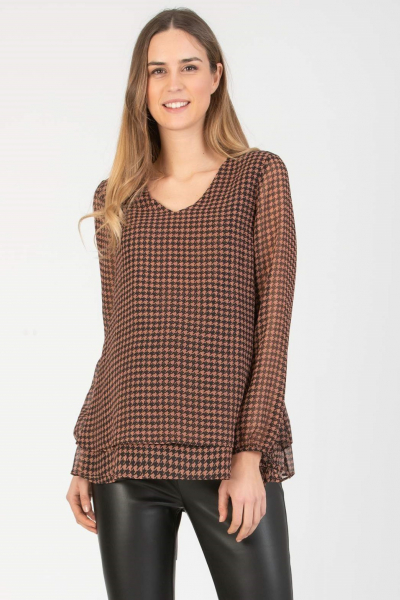 Double Layer Maternity & Nursing Blouse in Houndstooth Printed Chiffon