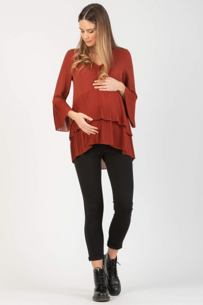 Maternity & Nursing Blouse with Pleated Flounces