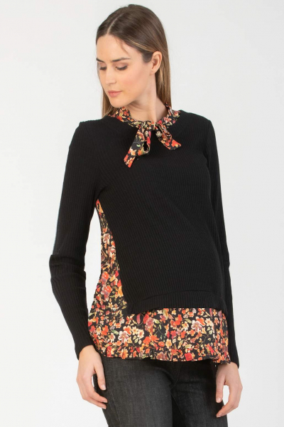 Long Sleeve Maternity Top with Floral Print Mock Blouse