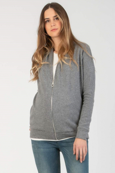 Maternity Cardigan in Cashmere Blend with Zip