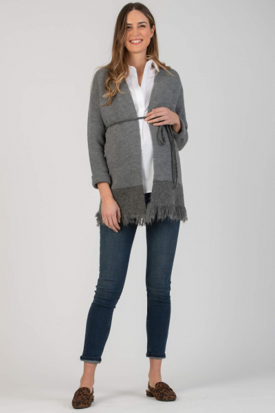 Two-colour Maternity Cardigan with Fringed Hem