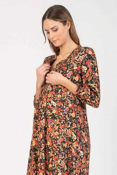 Floral Print Maternity & Nursing Dress with Ruches