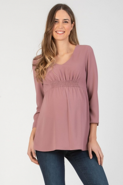 Maternity Blouse and with Front Elastic Band and V-neck