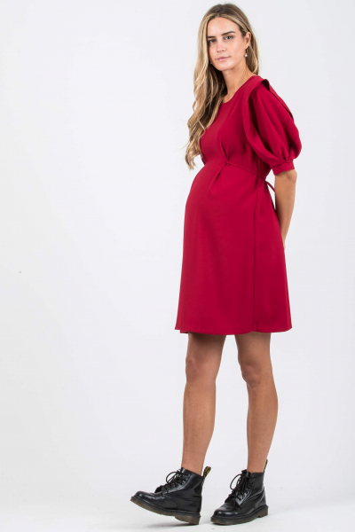 Maternity Dress with Short Sleeve with Petal Detail