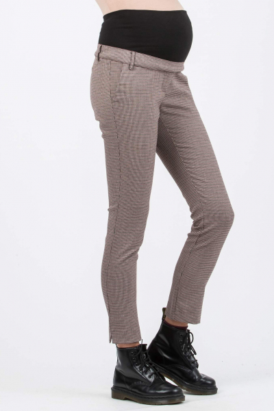 Slim Maternity Trousers in Jacquard with Checked Houndstooth Print