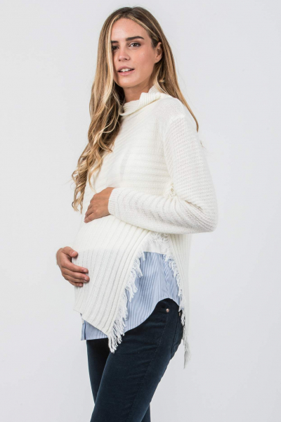 Maternity Sweater with Fringed Split at the Side