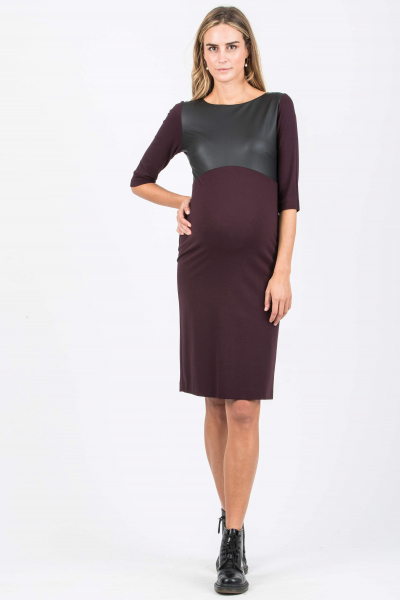 Shift Maternity Dress with Leather