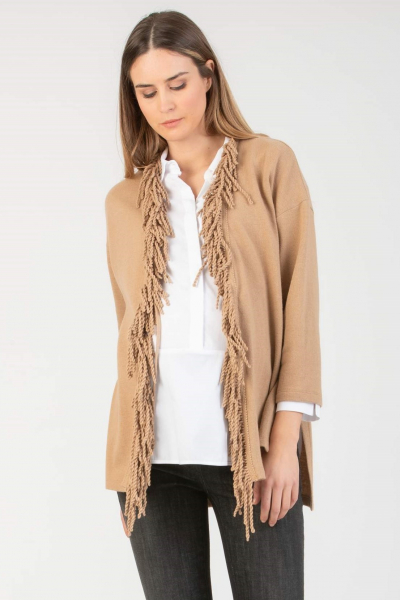 Maternity Cardigan with Fringed Front in Cashmere Blend
