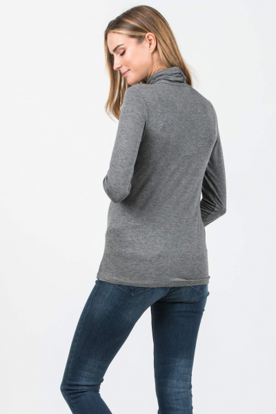 Long Sleeve Maternity Basic Top with High Neck