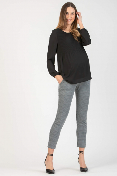 Slim Maternity Trousers in Checked Jacquard