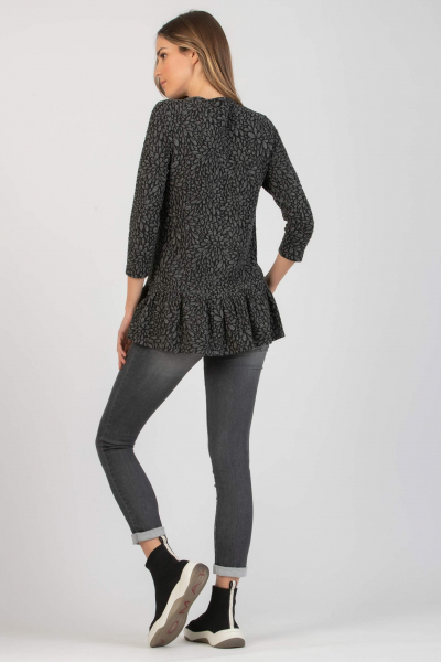 Maternity Sweatshirt with Flounce and Embossed Flowers Print