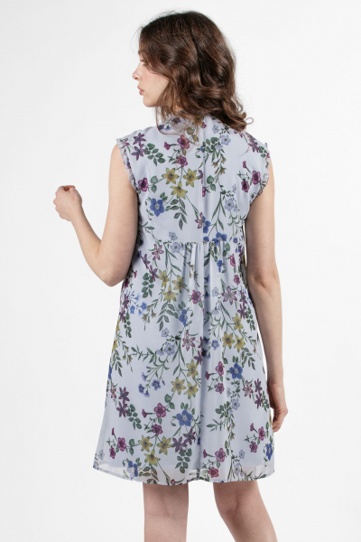 Floral Print Maternity & Nursing Dress in Georgette with Ruches