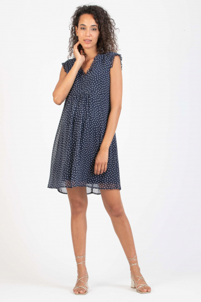 Polka Dot Maternity & Nursing Dress in Georgette with Ruches