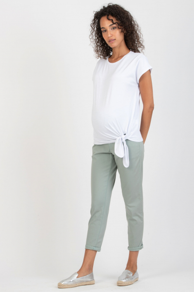 Pantalone Premaman Slim Cropped Mom Fit in Gabardina