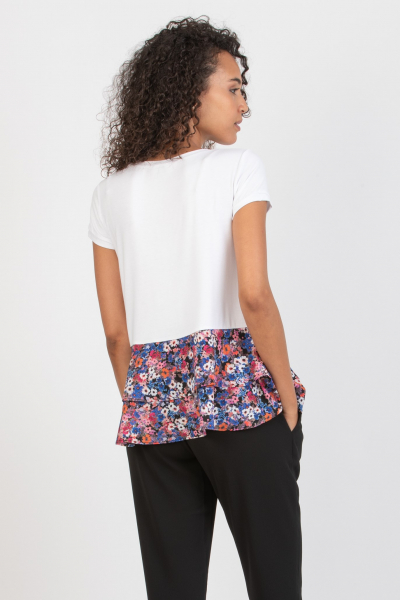 Maternity T-shirt with Floral Flounces