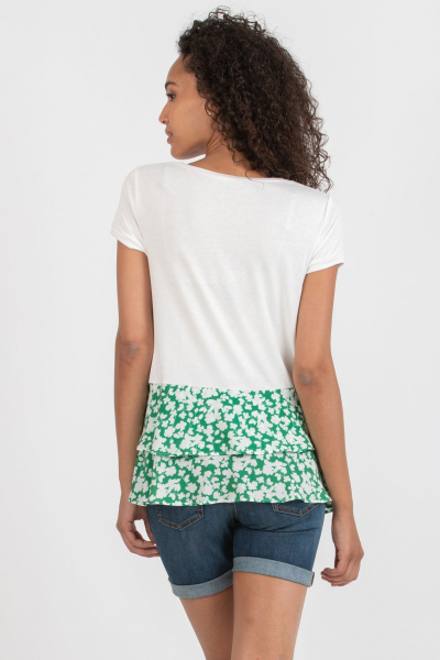 Maternity T-shirt with Green Floral Flounces