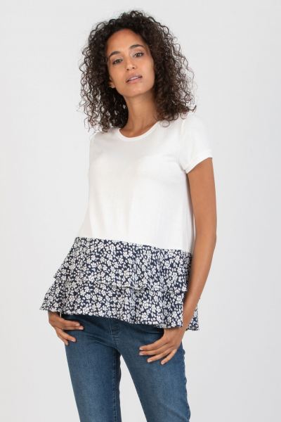 Maternity T-shirt with Blue Floral Flounces
