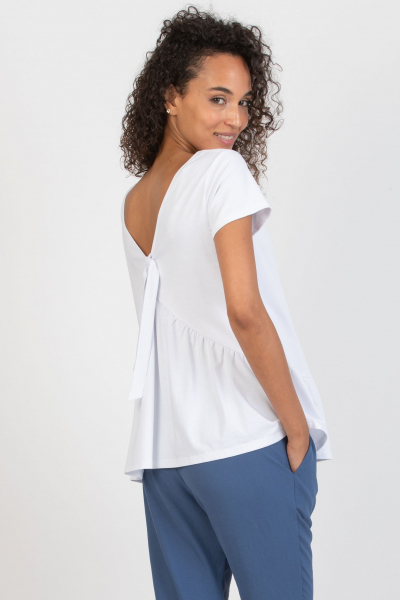 Maternity T-shirt with Back Neckline and Back Bow