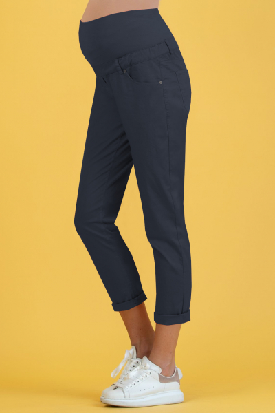 Cropped Mom Fit Slim Maternity Trousers in Gabardine