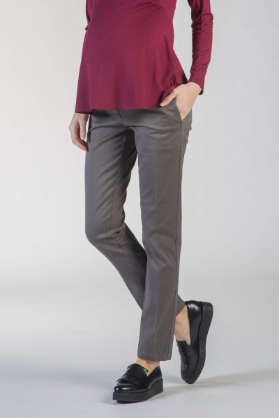 Cropped Maternity Trousers in Cotton Sateen