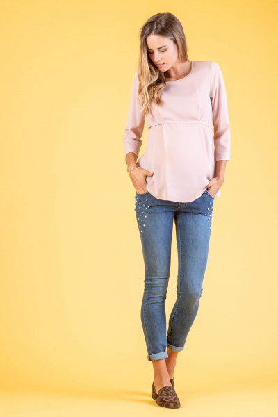 Skinny Fit Maternity Jeans with Pearls