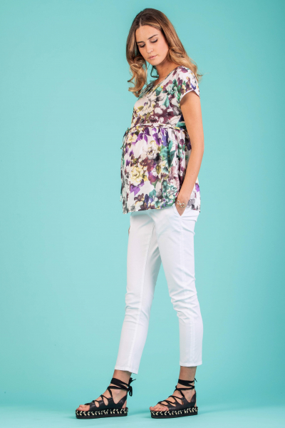 Floral Printed Maternity Top with Side String