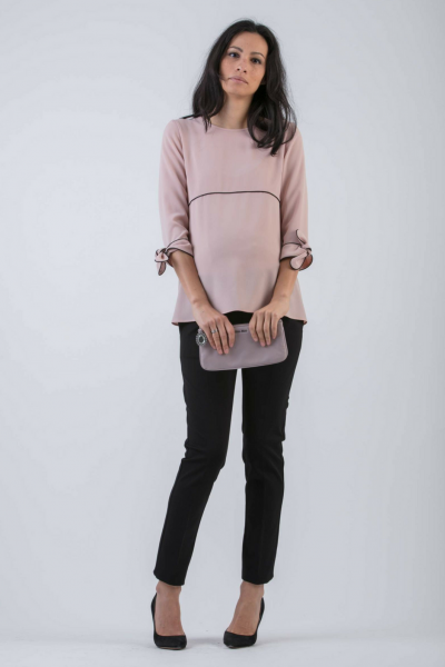 Maternity Blouse with Contrasting Piping