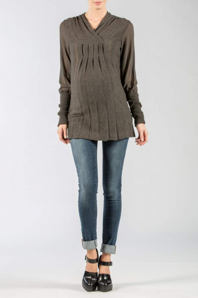 Maternity sweater with Semitransparent Sleeves