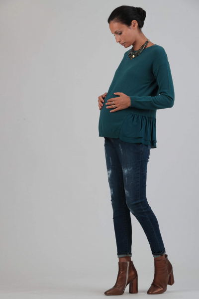 Cashmere Maternity Sweater with Frill