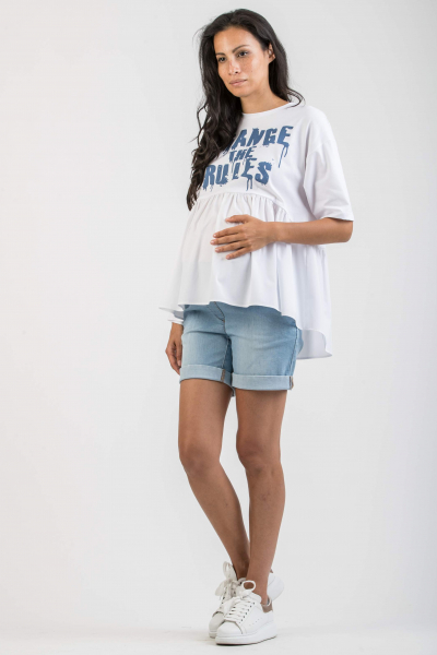 Maternity T-shirt with Poplin