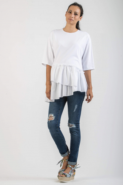 Maternity T-Shirt with Asymmetric Ruffles