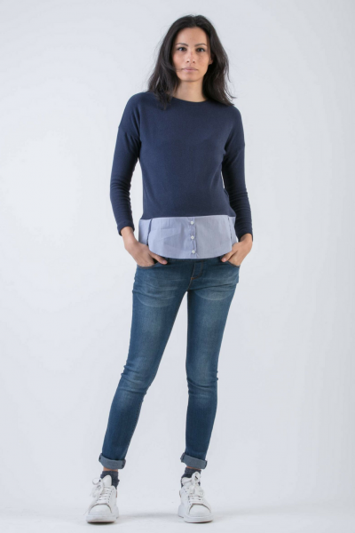 Maternity Jumper with Cotton Shirt