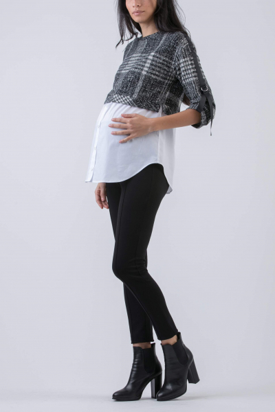 Maternity Sweater with Contrasting Cotton