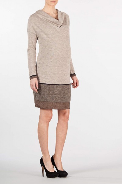 Dress in Merinos Wool and Mohair with Draped Neckline