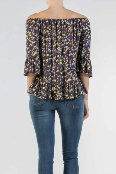 Printed Maternity Blouse with Volant