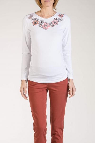 Printed Maternity T-Shirt with Long Sleeves
